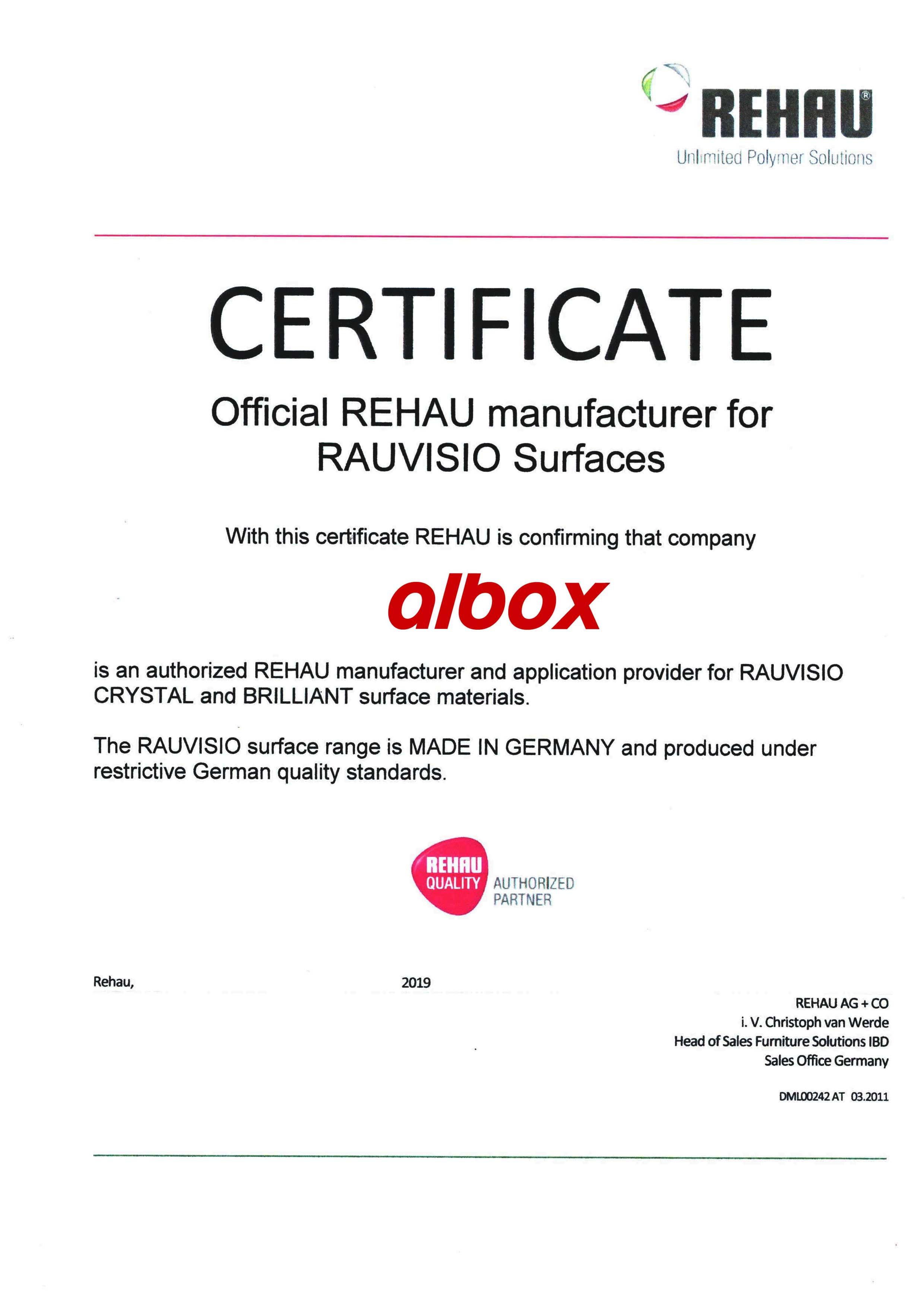 rehau sertifika